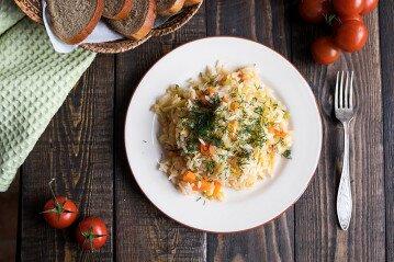 рецепт риса с капустой