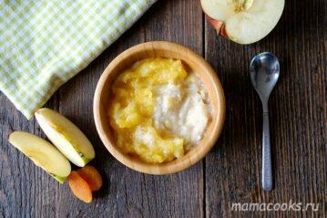 Рисовая каша с яблоками и курагой